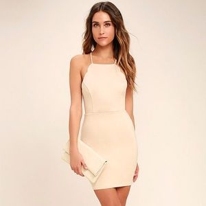 Lulu's Heart's Content Beige Bodycon dress